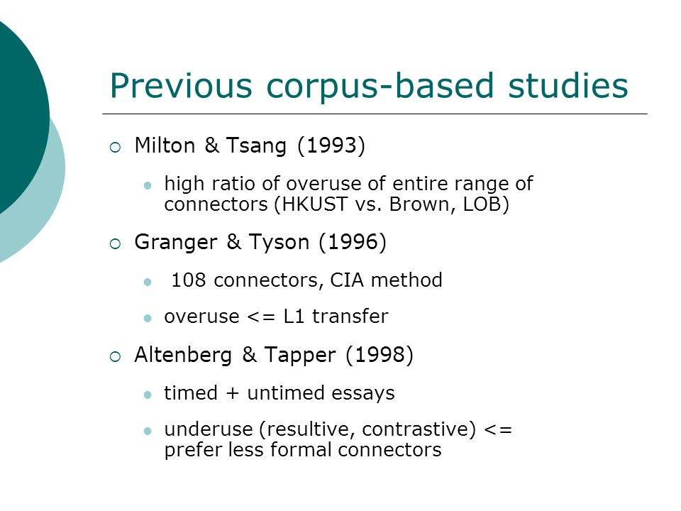 Previous corpus-based studies