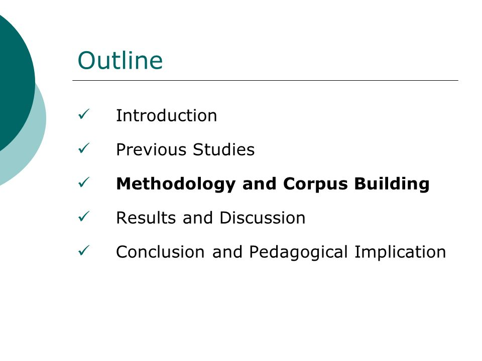 Outline Introduction Previous Studies Methodology and Corpus Building