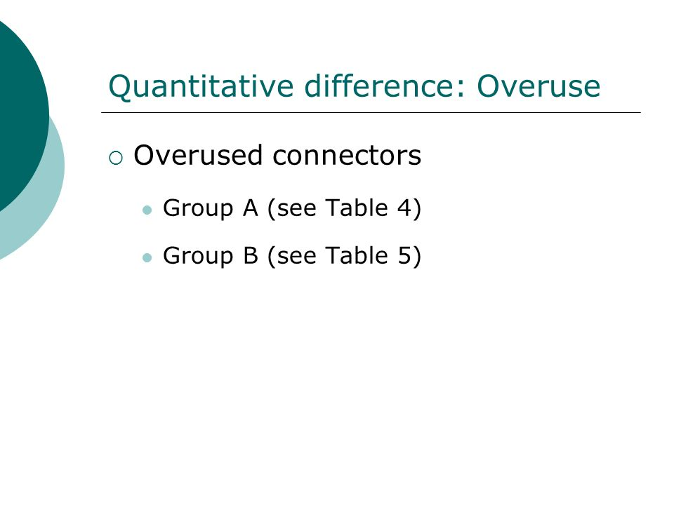 Quantitative difference: Overuse