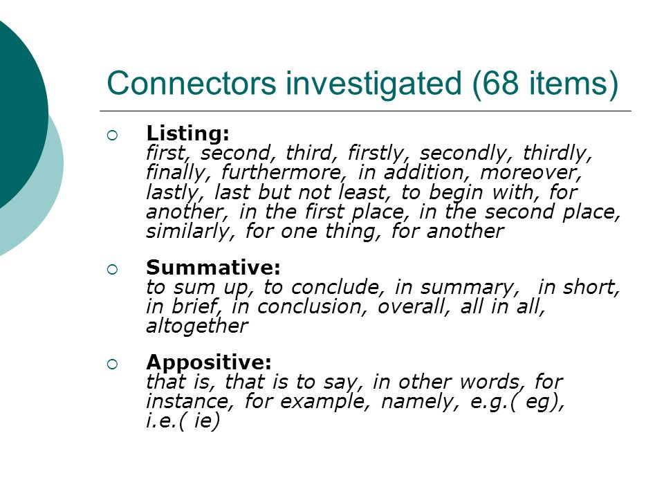 Connectors investigated (68 items)