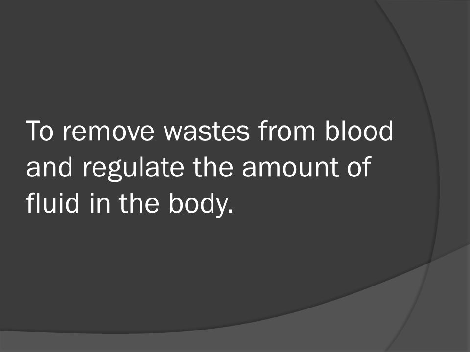 To remove wastes from blood and regulate the amount of fluid in the body.