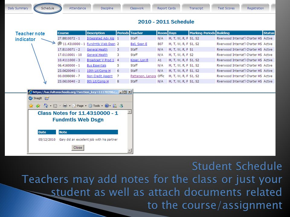 Teacher note indicator.