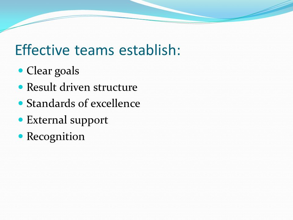 Effective teams establish: