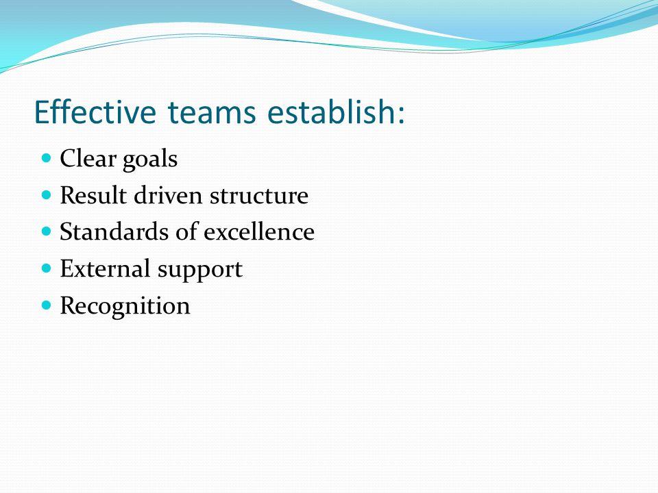 Effective teams establish: