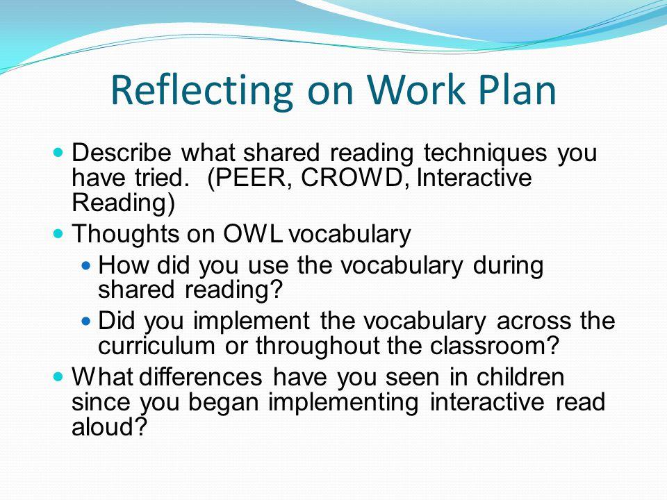 Reflecting on Work Plan