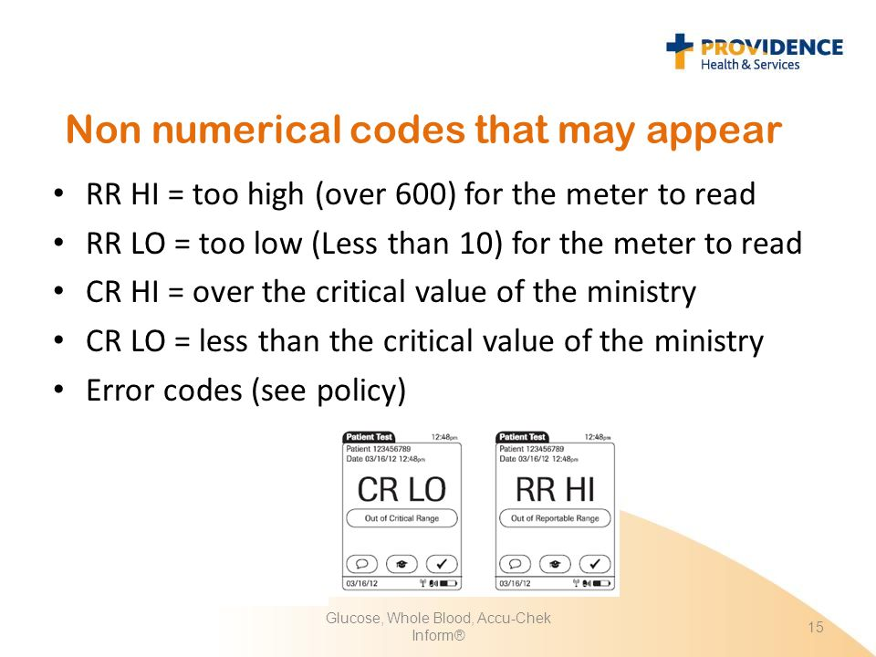 Non numerical codes that may appear