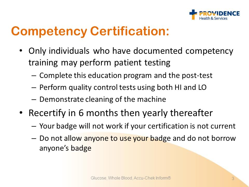 Competency Certification: