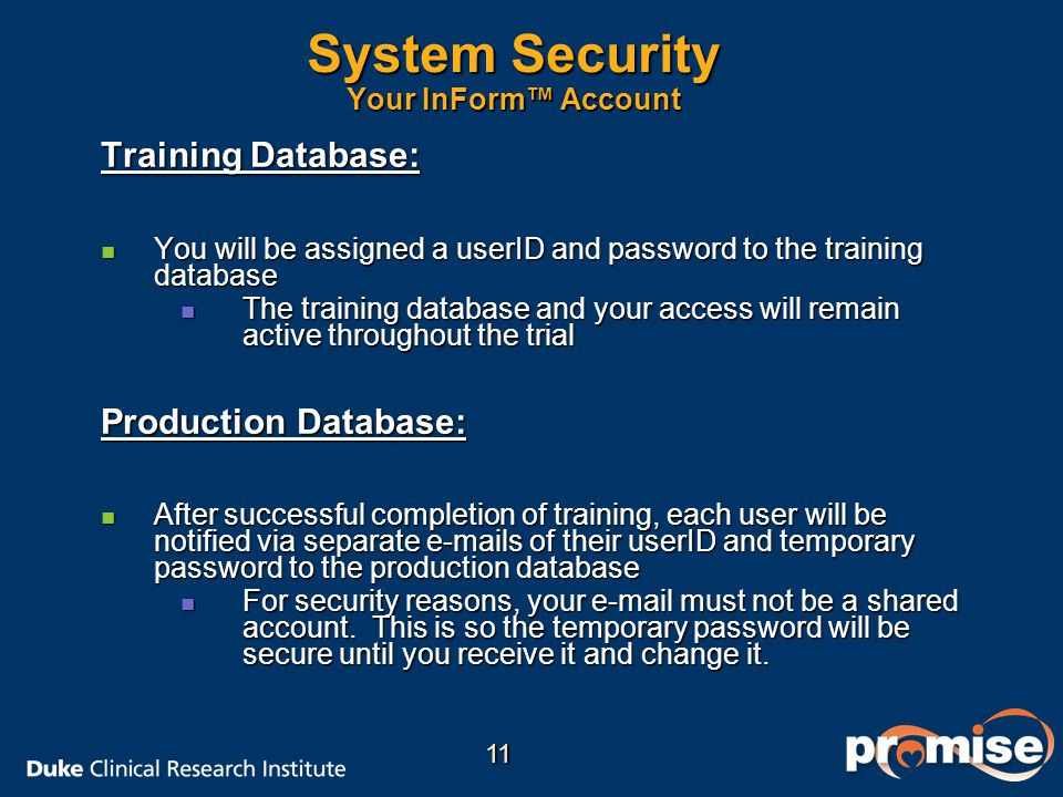 System Security Your InForm™ Account
