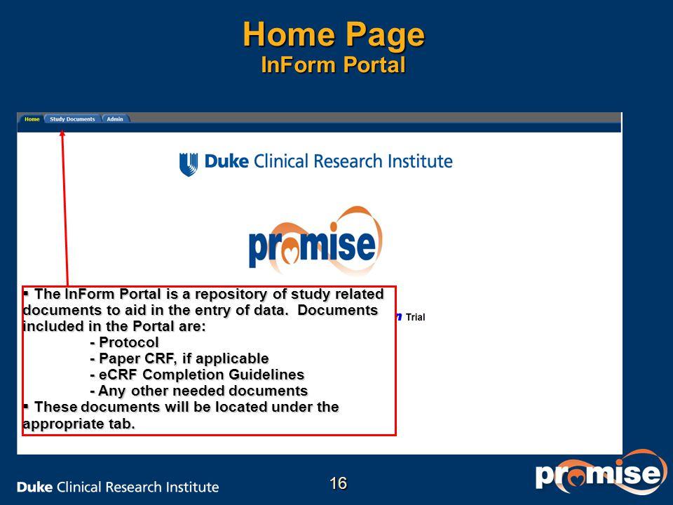 Home Page InForm Portal