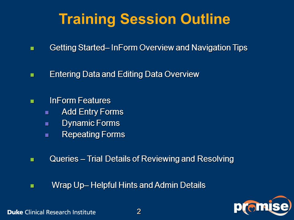 Training Session Outline