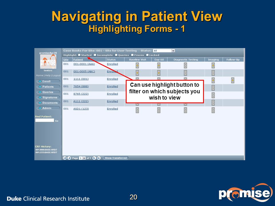 Navigating in Patient View Highlighting Forms - 1