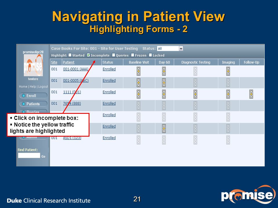 Navigating in Patient View Highlighting Forms - 2