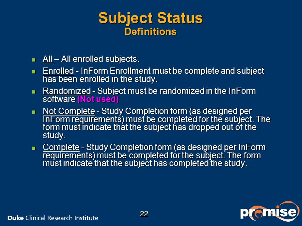 Subject Status Definitions