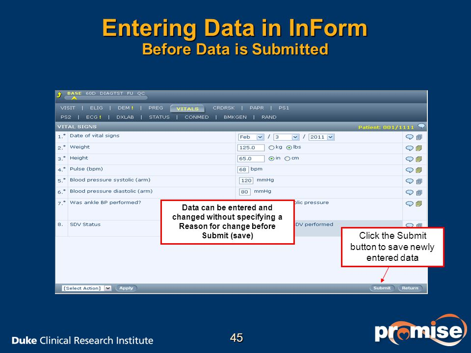Entering Data in InForm Before Data is Submitted