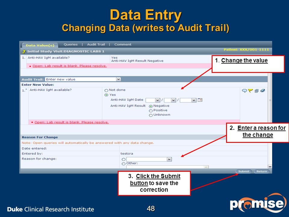 Data Entry Changing Data (writes to Audit Trail)