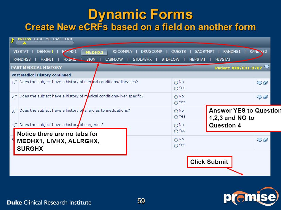 Dynamic Forms Create New eCRFs based on a field on another form