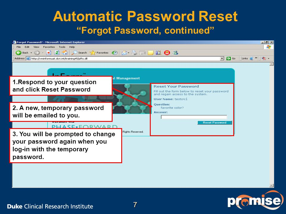 Automatic Password Reset Forgot Password, continued