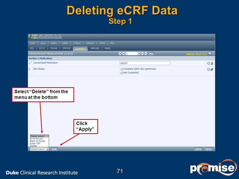 Deleting eCRF Data Step 1