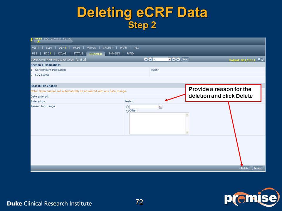 Deleting eCRF Data Step 2