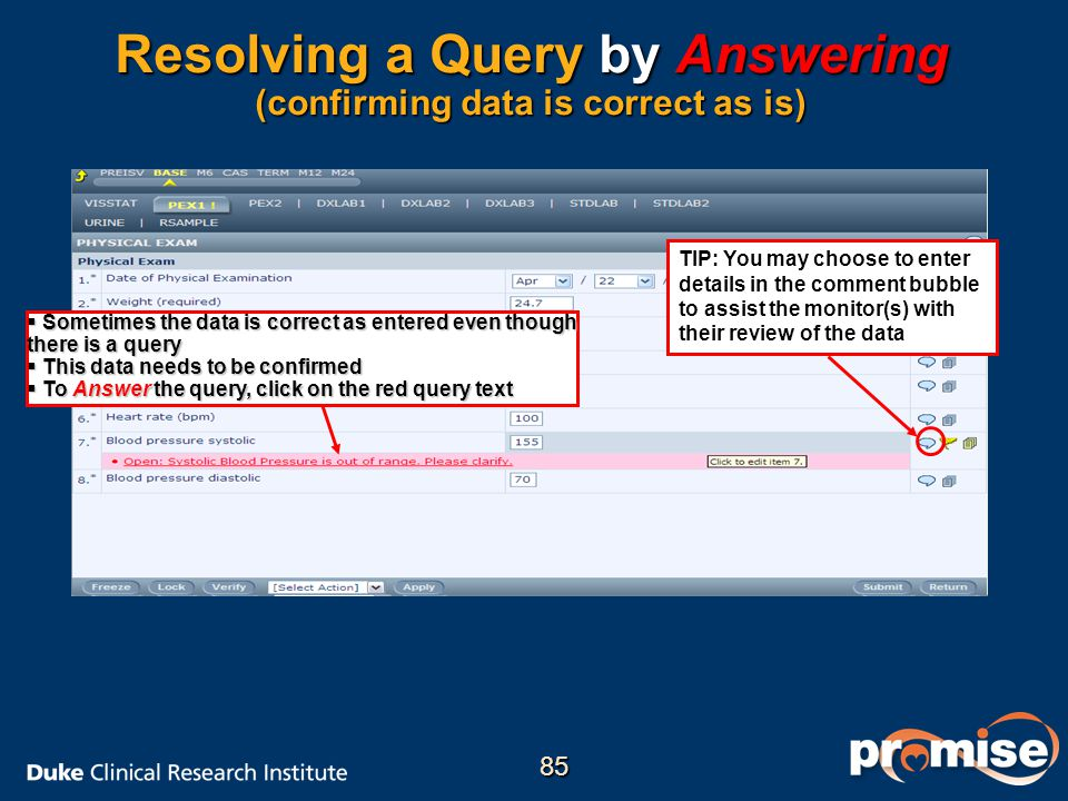 Resolving a Query by Answering (confirming data is correct as is)