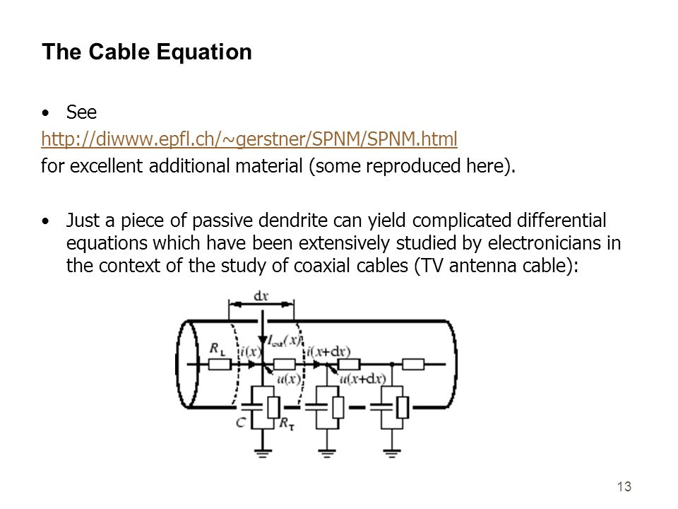 The Cable Equation See http://diwww.epfl.ch/~gerstner/SPNM/SPNM.html