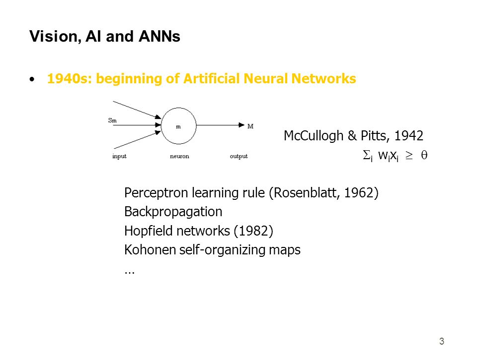 Vision, AI and ANNs 1940s: beginning of Artificial Neural Networks