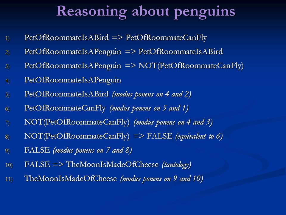 Reasoning about penguins
