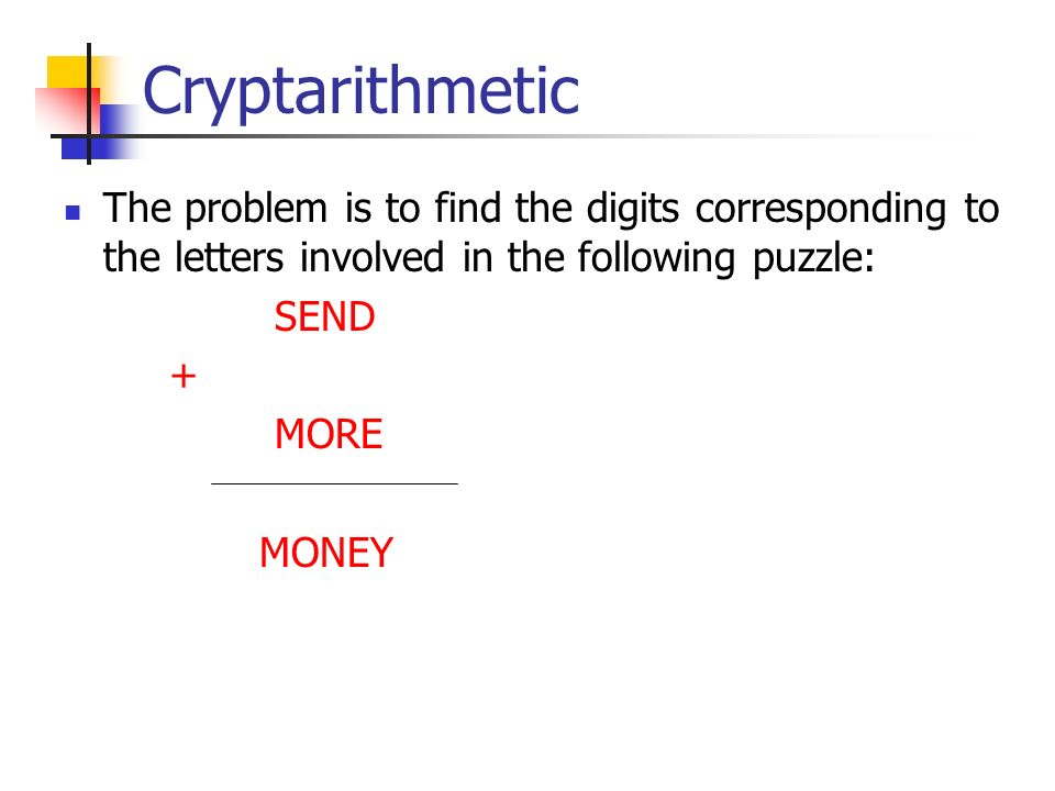 Cryptarithmetic The problem is to find the digits corresponding to the letters involved in the following puzzle: