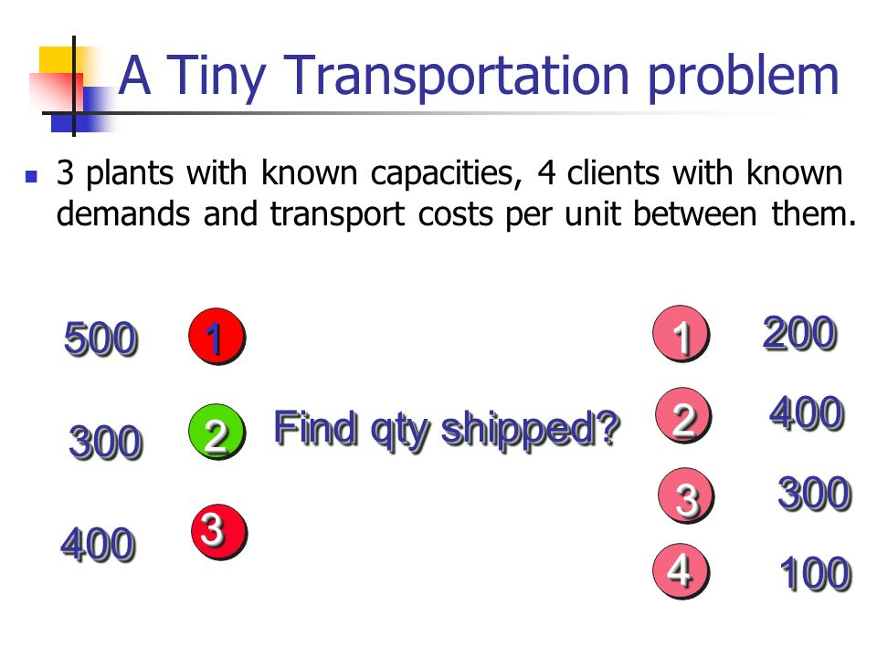 A Tiny Transportation problem