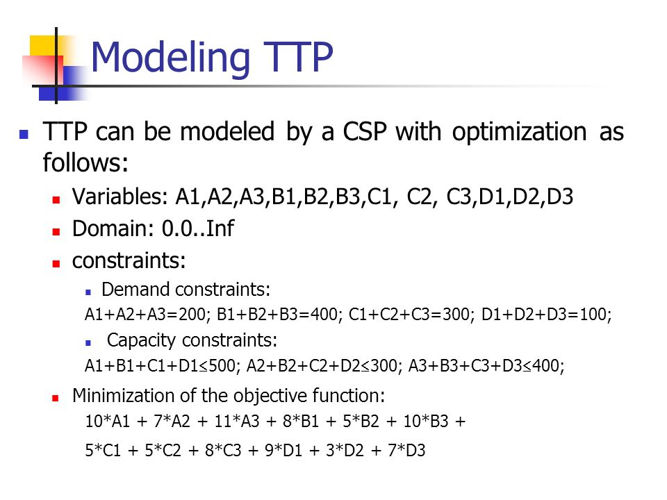 Modeling TTP TTP can be modeled by a CSP with optimization as follows: