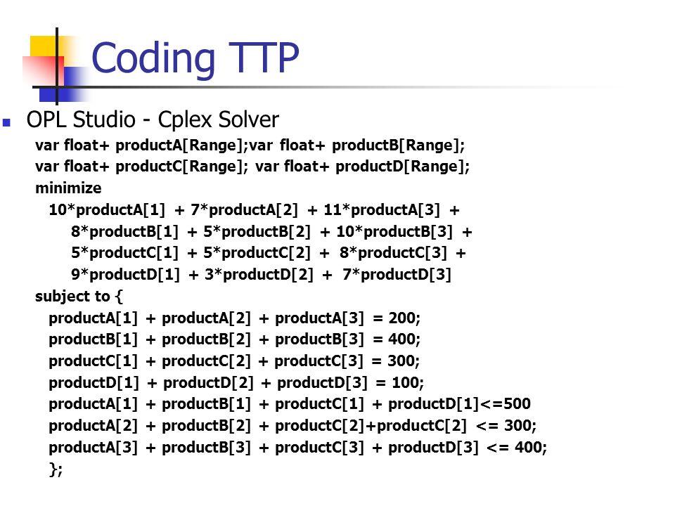 Coding TTP OPL Studio - Cplex Solver