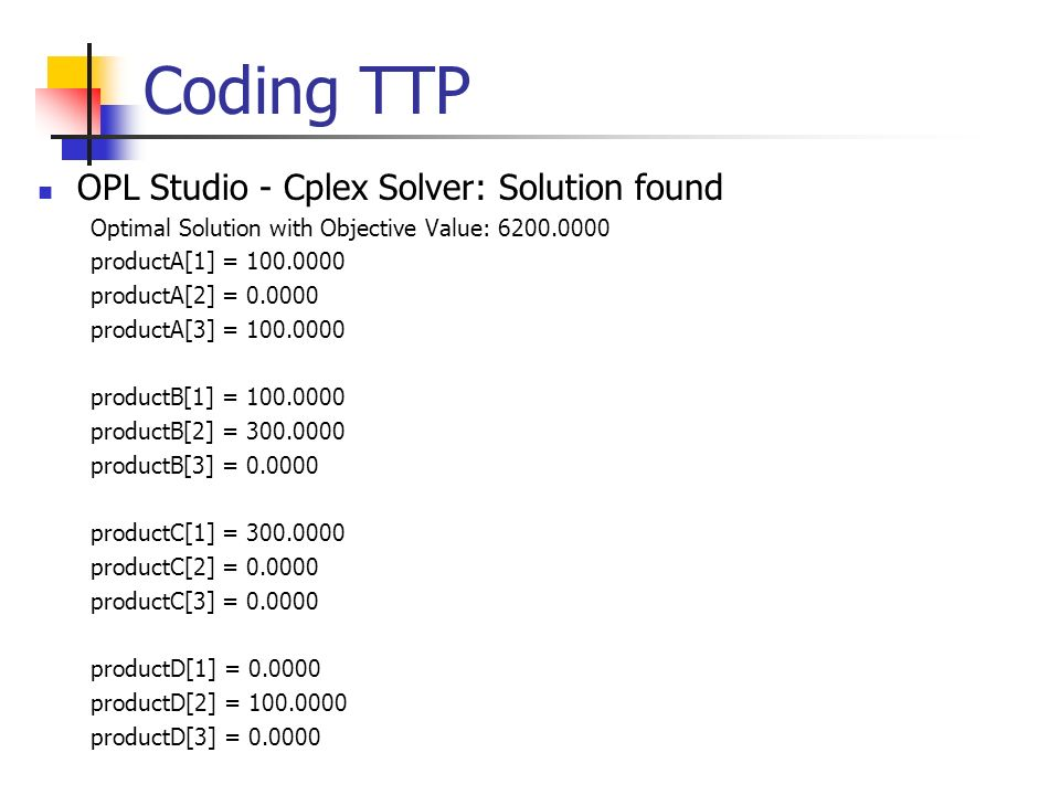 Coding TTP OPL Studio - Cplex Solver: Solution found