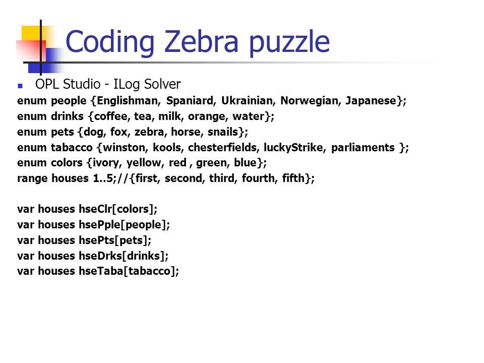 Coding Zebra puzzle OPL Studio - ILog Solver