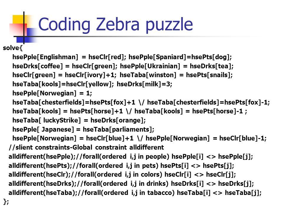 Coding Zebra puzzle solve{