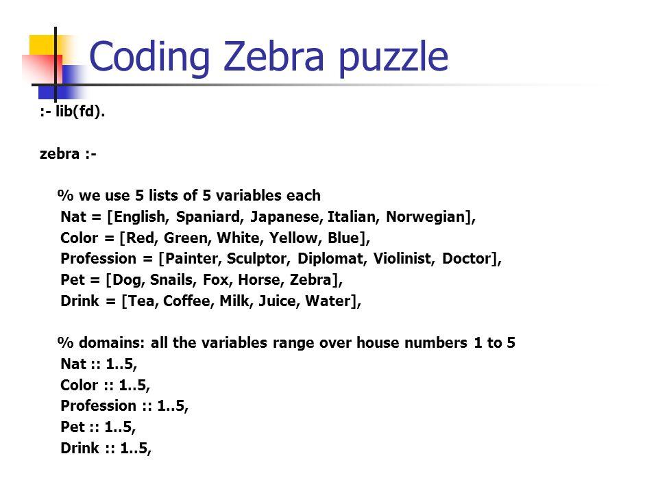 Coding Zebra puzzle :- lib(fd). zebra :-