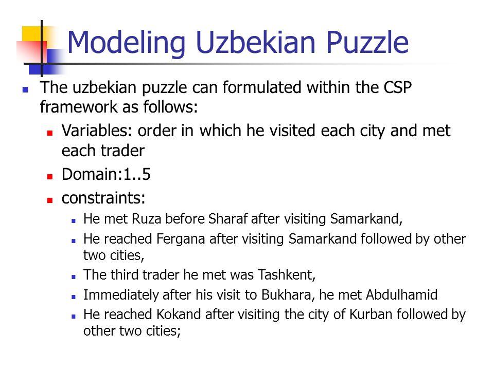 Modeling Uzbekian Puzzle