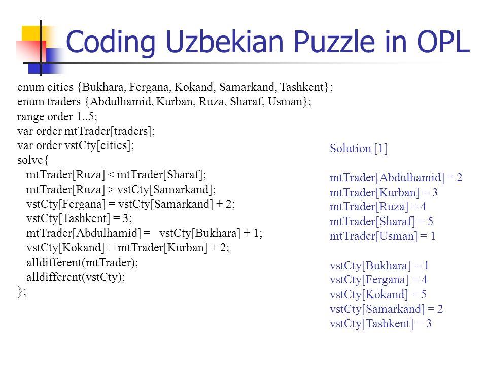 Coding Uzbekian Puzzle in OPL