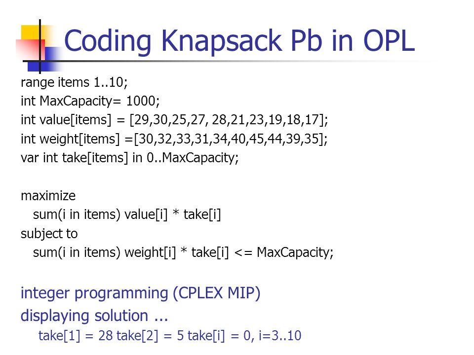 Coding Knapsack Pb in OPL