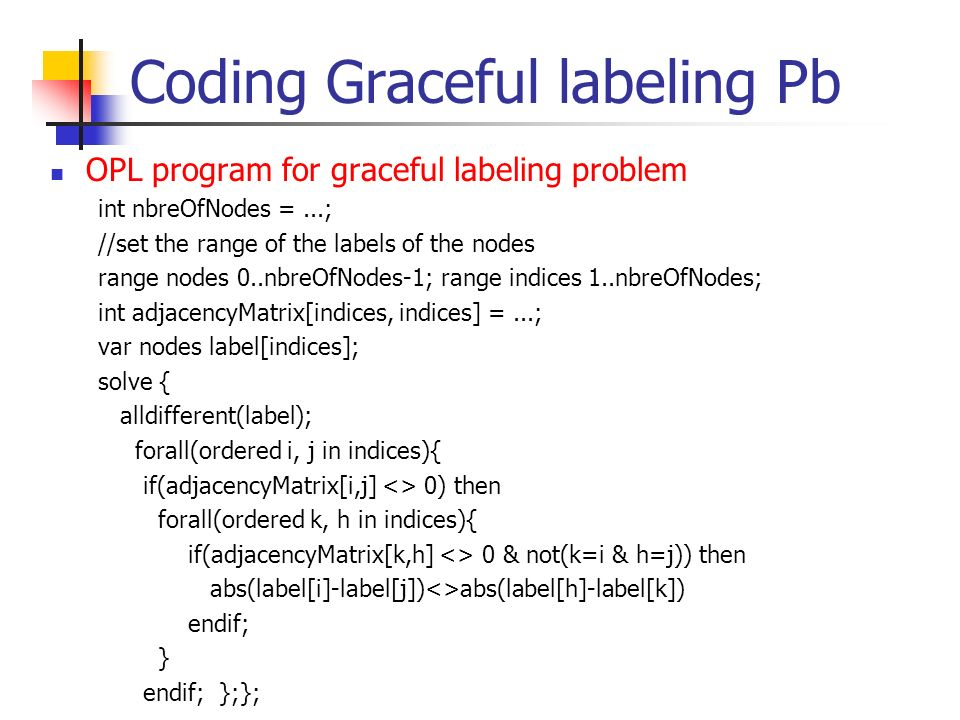 Coding Graceful labeling Pb