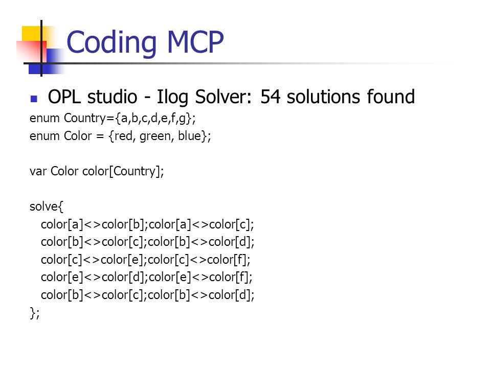 Coding MCP OPL studio - Ilog Solver: 54 solutions found