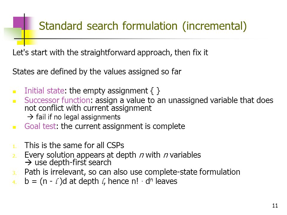 Standard search formulation (incremental)