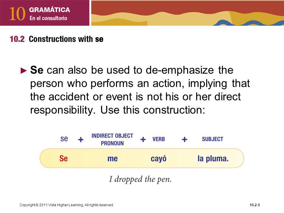 Se can also be used to de-emphasize the person who performs an action, implying that the accident or event is not his or her direct responsibility. Use this construction: