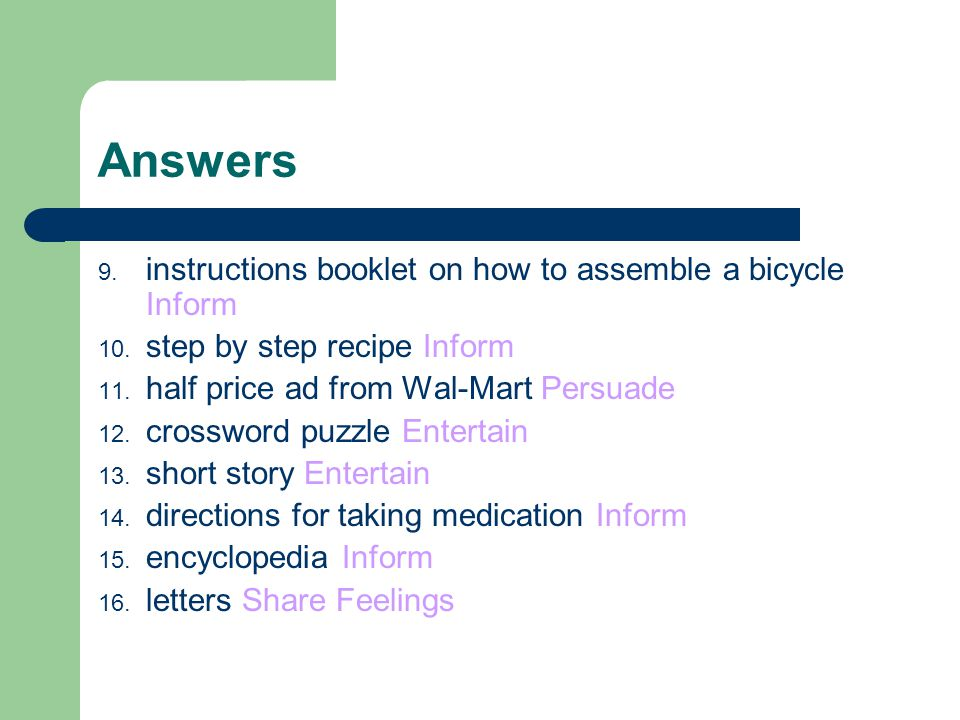 Answers instructions booklet on how to assemble a bicycle Inform