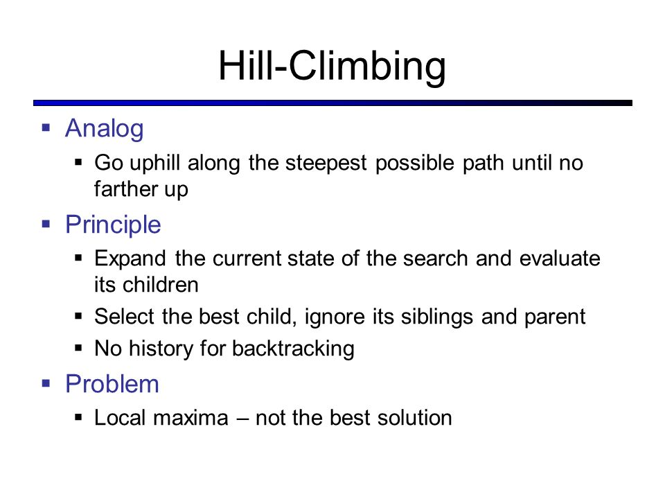 Hill-Climbing Analog Principle Problem