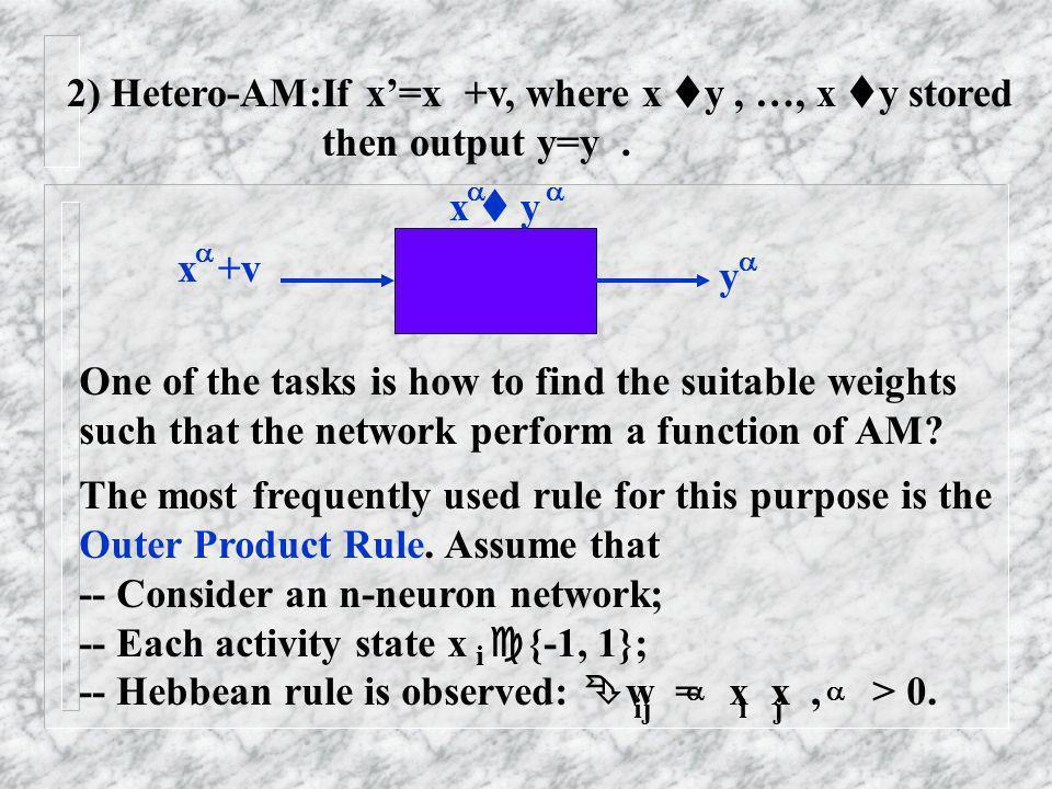 2) Hetero-AM:If x'=x +v, where x y , …, x y stored then output y=y .