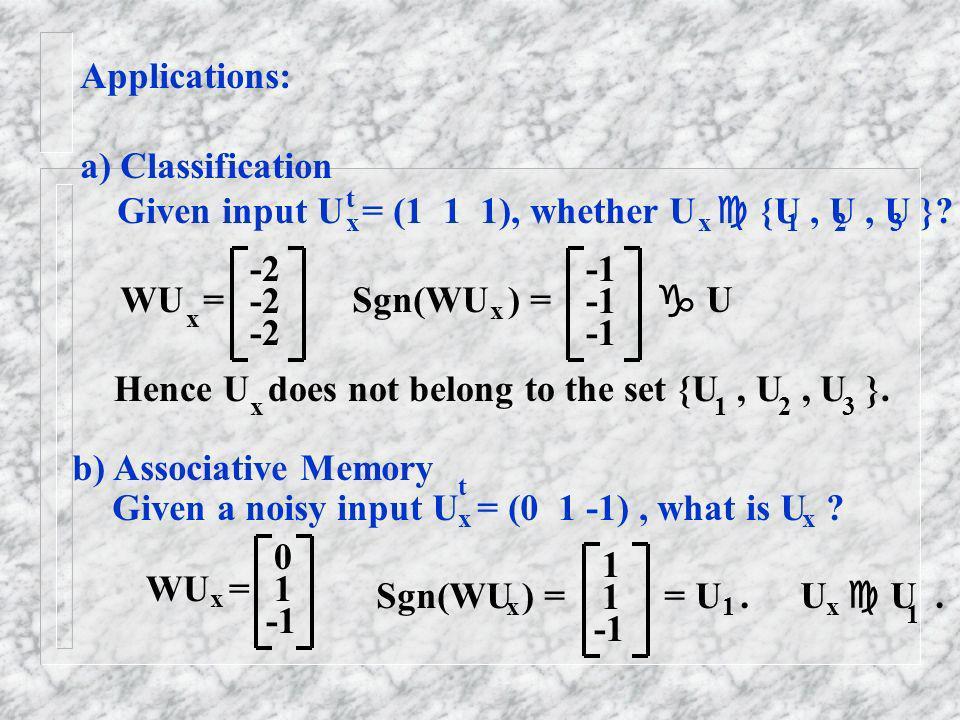 Given input U = (1 1 1), whether U  {U , U , U }