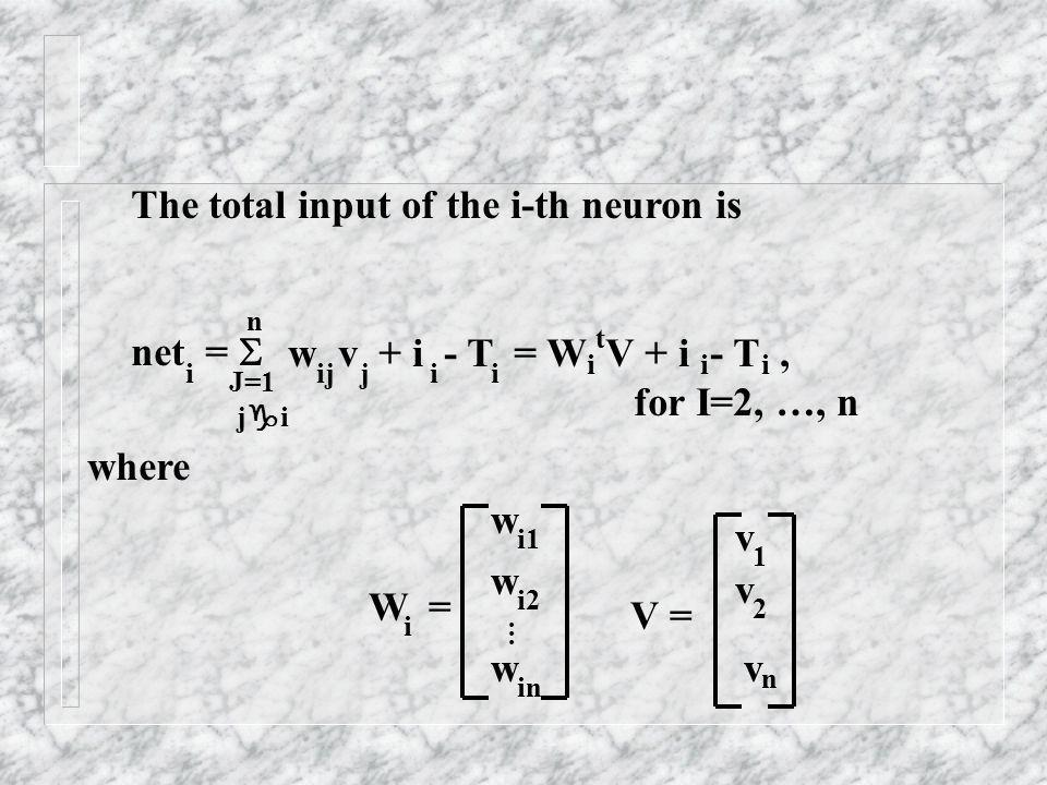 The total input of the i-th neuron is