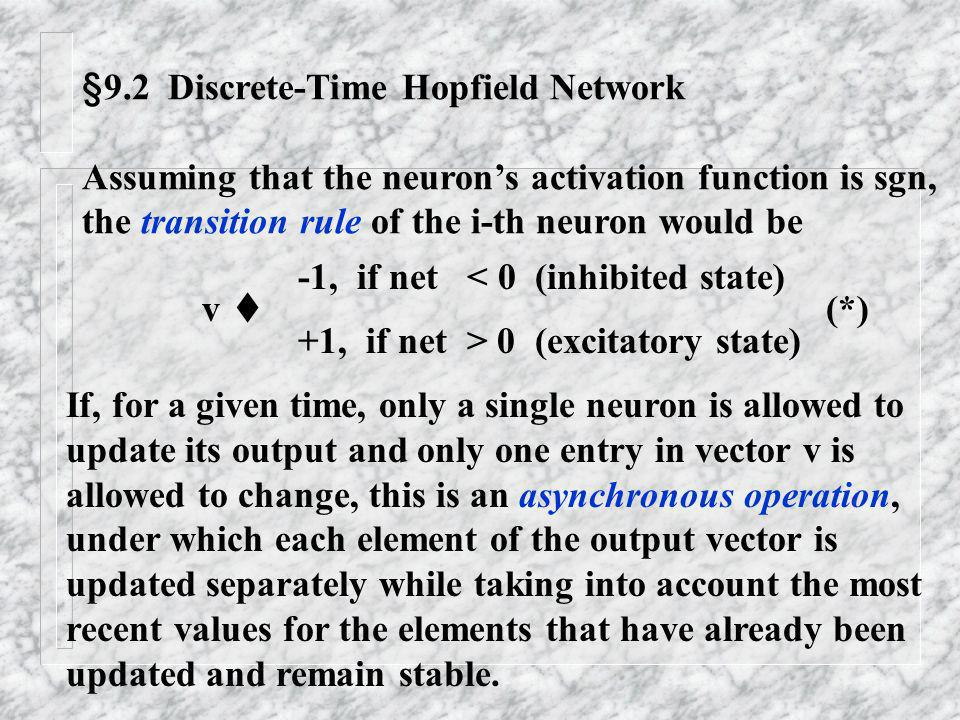 §9.2 Discrete-Time Hopfield Network