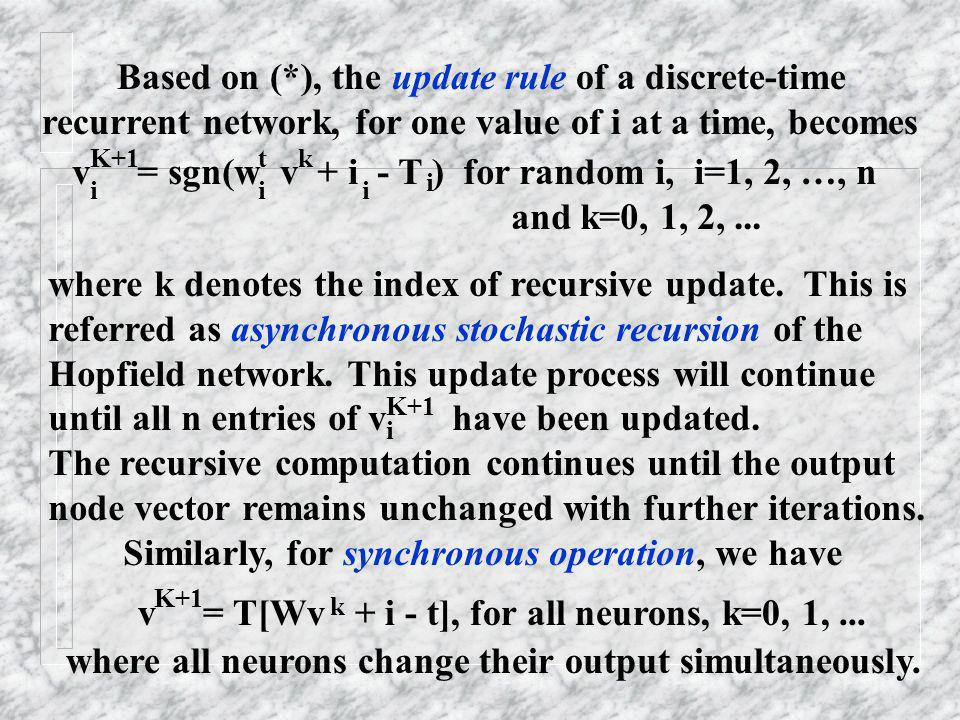 Based on (*), the update rule of a discrete-time