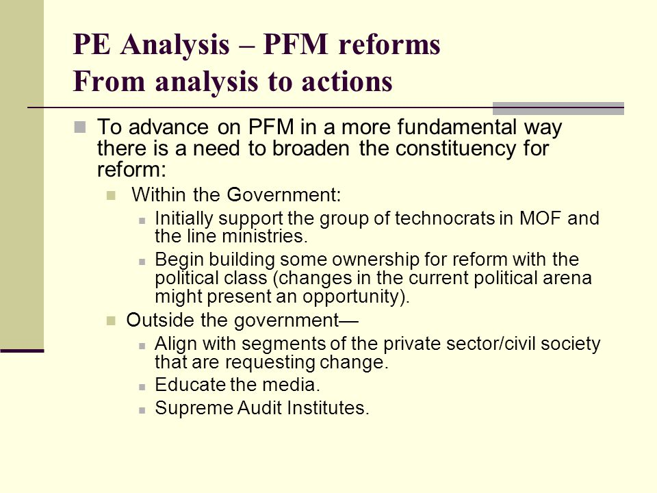 PE Analysis – PFM reforms From analysis to actions